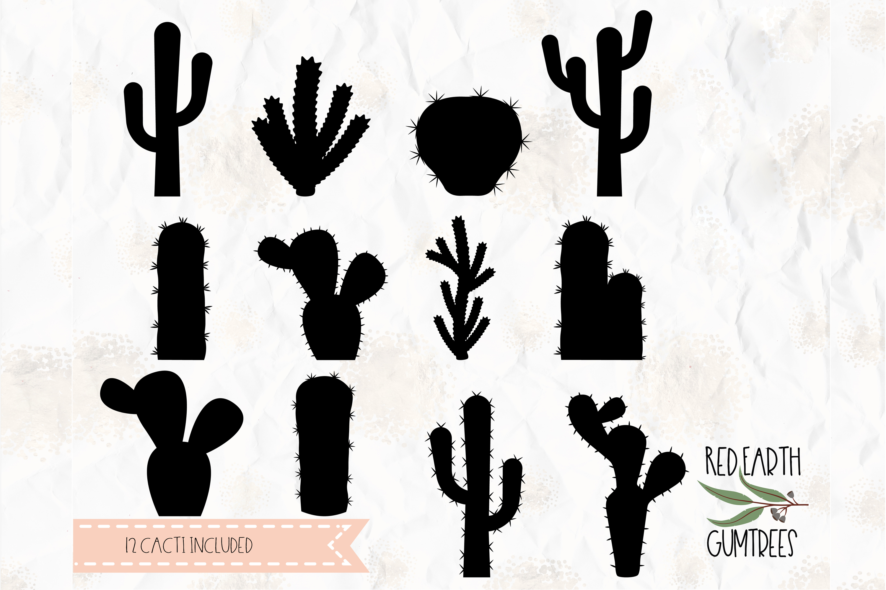 Cactus silhouette, Cacti bundle in SVG, DXF,PNG, EPS formats.