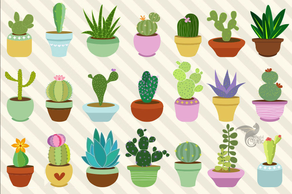 Cacti and Succulents Clip Art.