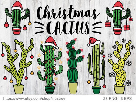 Cactus Christmas trees for Christmas cards, cacti digital.