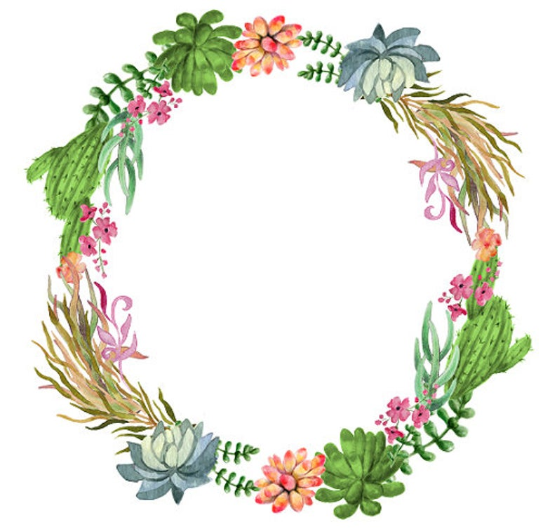 Cactus Wreath Cactus Clipart Succulents Clipart Tropical Wreath Watercolor  Leaves Tropical Clipart Watercolor Tropical Flowers.
