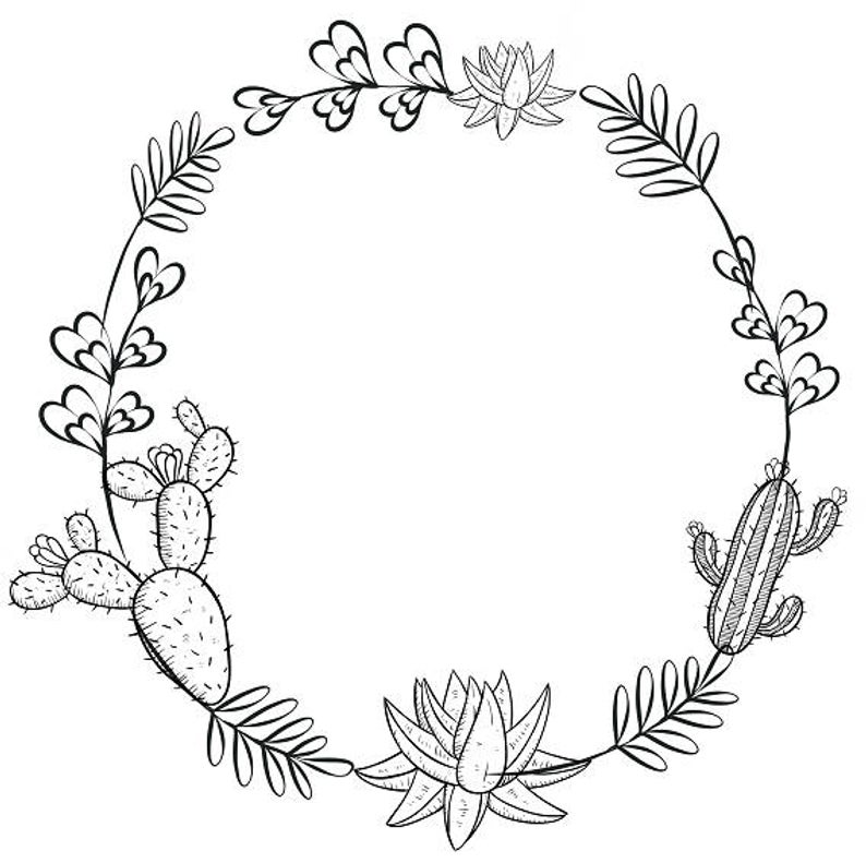 Cactus Clipart Minimalist Wreath Succulents Clipart Black & White Wreath.
