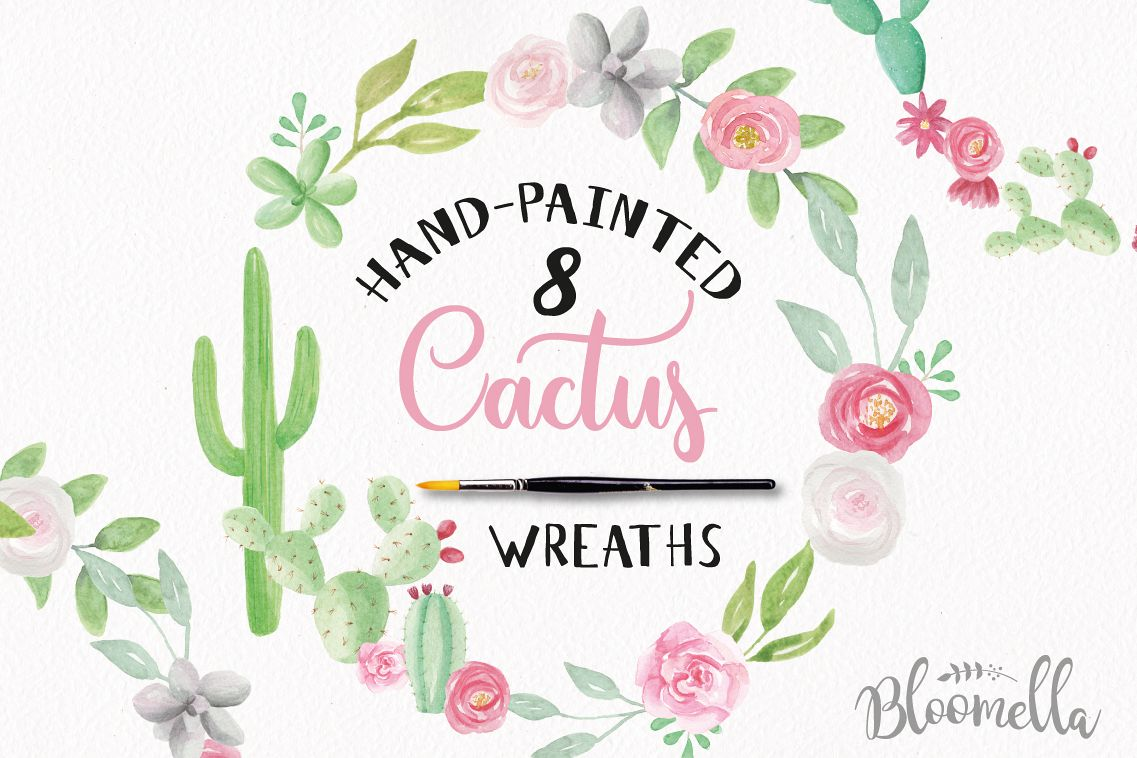 Watercolor Cactus Floral Garlands Flower Wreath Clipart Set.