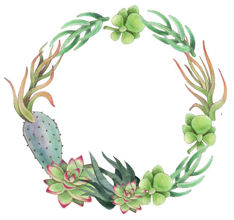 Succulents Clipart Cactus Wreath Greenery Frame Tropical Wreath Cactus and  Succulents Clipart.