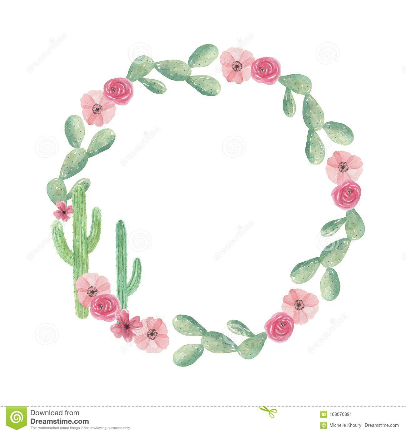 Watercolor Cactus Wreath Cacti Green Frame Wedding Spring Summer.