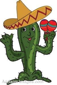 Clip Art of a Cactus Holding Maracas.