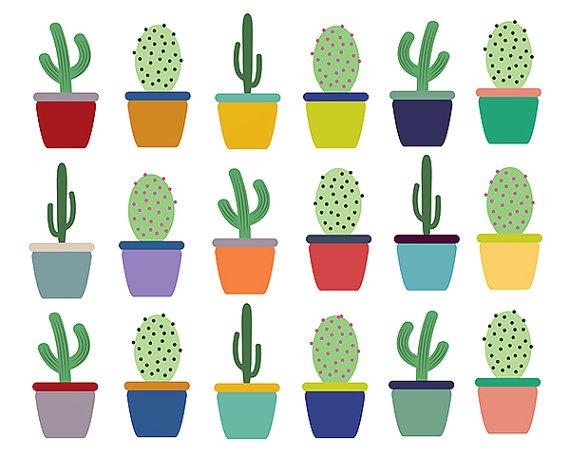 Clipart Sale 60% off, Cactus Clip Art, Digital Design, Plant.