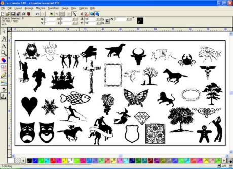 Torchmate Clip Art and Professional Text Compose Module.