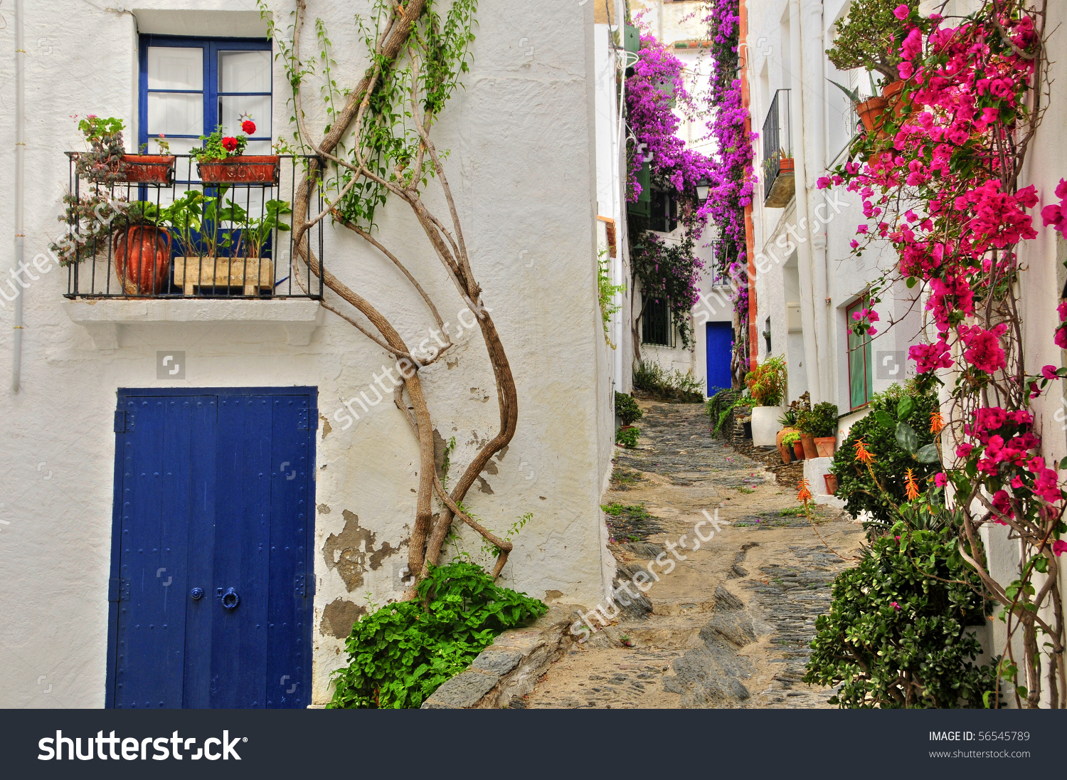 View Street Cadaques Costa Brava Spain Stock Photo 56545789.