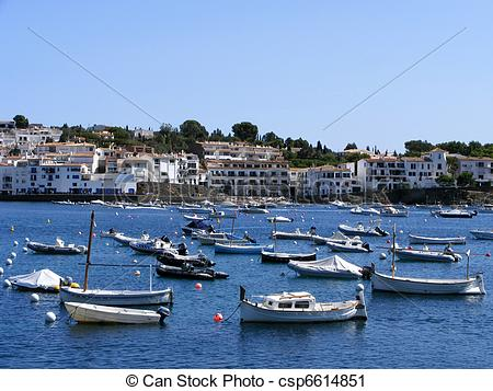 Stock Photography of Ships in Cadaques, Spain.