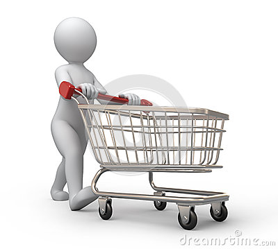 Person Pushing Trolley With Books Royalty Free Stock Image.