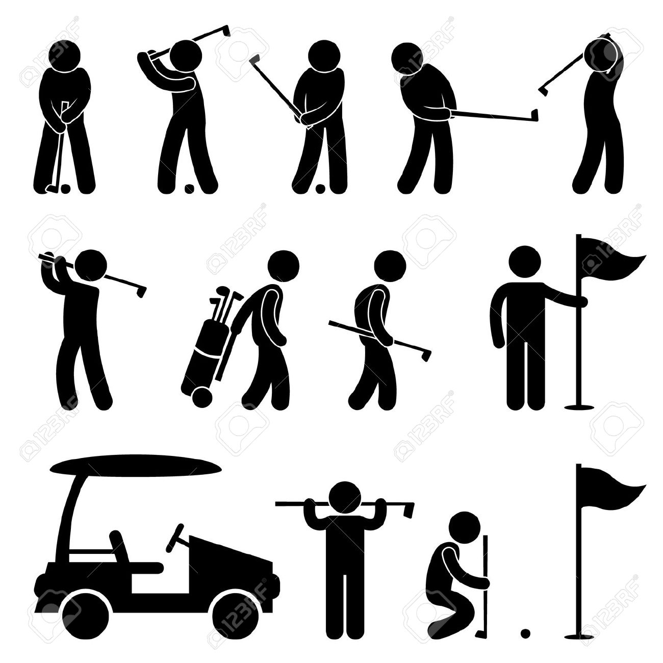 Golf Golfer Swing People Caddy Caddie Pictogram Royalty Free.