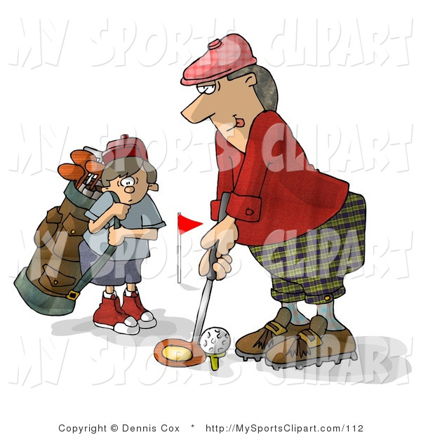 Sports Clip Art of a Father and Son Golfing Together and Teeing.