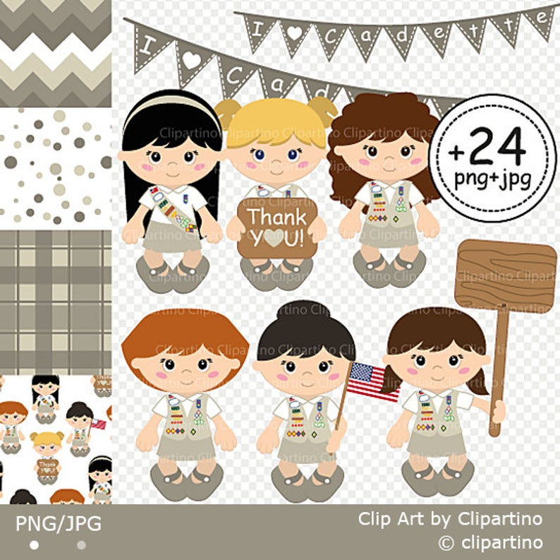 Cadette Girl Scout Clipart Scout Girl Clip art Commercial use.