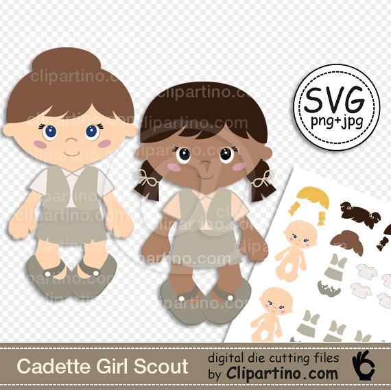Cadette girl scout svg digital die cutting files instant download.
