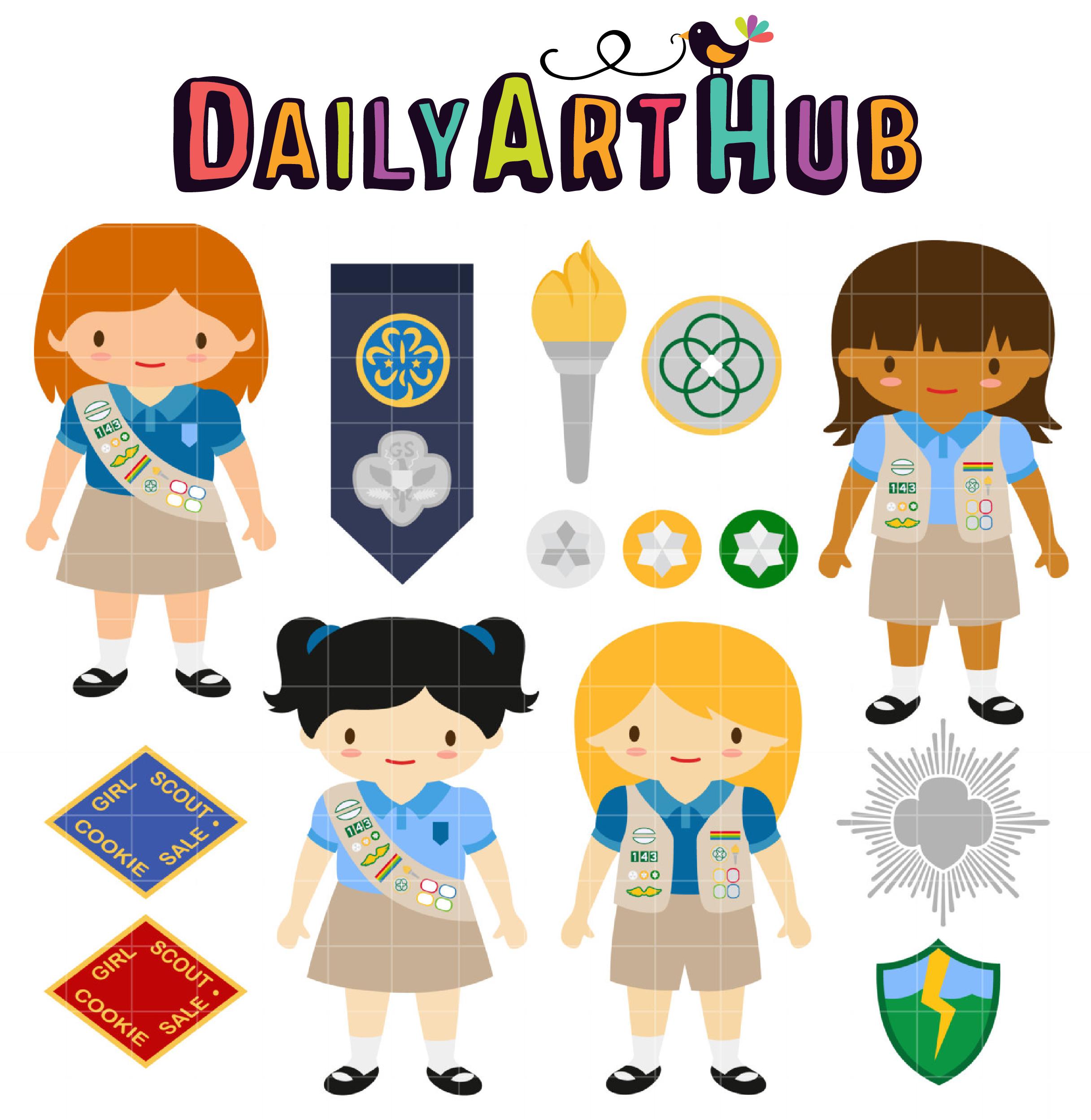 Cadette Girl Scout Clip Art Set.