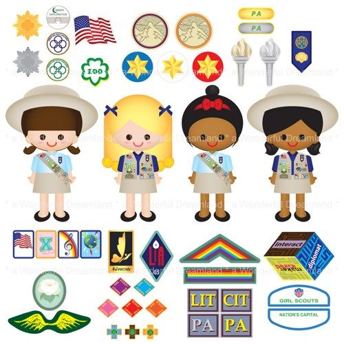 girl scouts cadette skirts clipart.