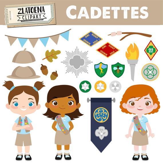 Cadettes Clip art Scout Girl Clip art Camping Digital Kids Camping  Printable art Explorer Clip art Girl Scouts Troop Camping.