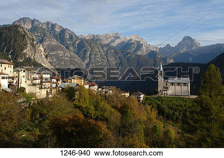 Stock Photography of Buildings in a valley, Pieve di Cadore.