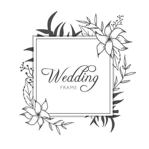 Modèle de carte bannière de cadre de mariage floral.