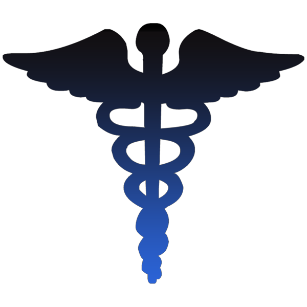 caduceus medical symbol blue clipart image.