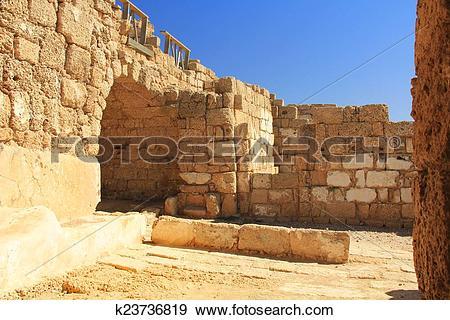 Stock Photograph of Warehouse ruins in Caesarea Maritim k23736819.
