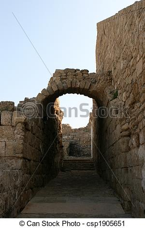 Stock Photography of Archway Ruins At Caesarea Maritima, Israel.