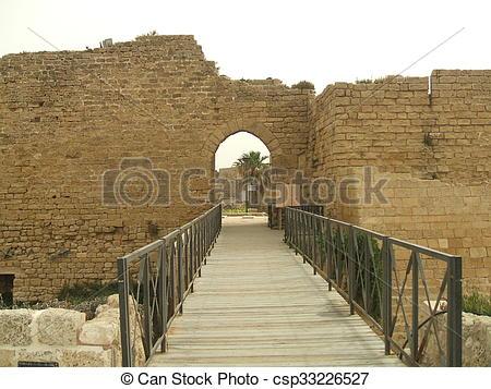 Stock Photo of Caesarea Maritima entrance, Israel csp33226527.