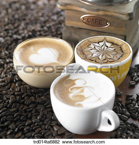 Stock Photo of beverage, drink, coffee, cafe au lait, coffee cup.