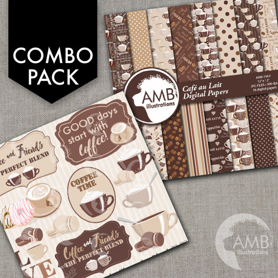 COMBO Coffee clipart, Coffee time clipart, Coffee frame clipart.