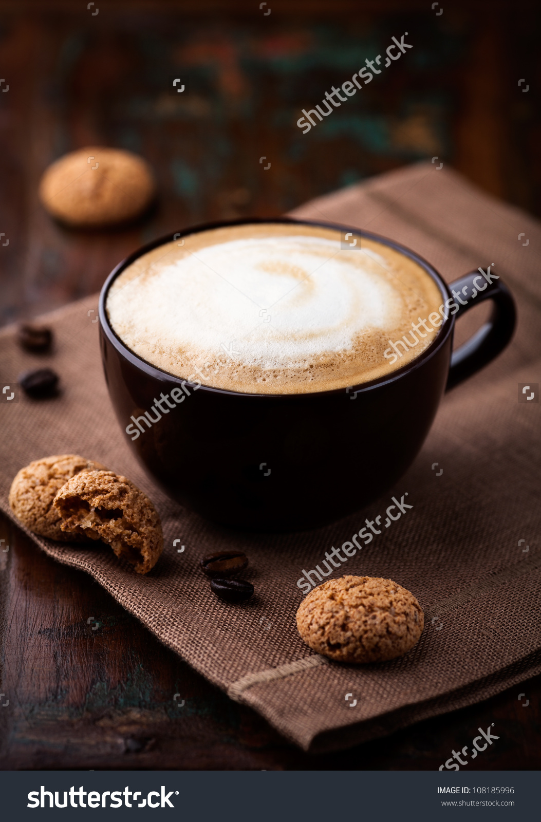Cup Cafe Au Lait Biscotti On Stock Photo 108185996.