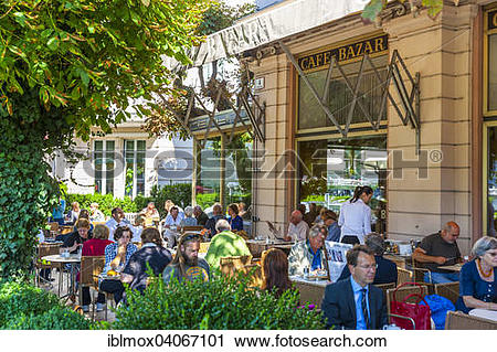Stock Photography of Terrace of Cafe Bazar, city of Salzburg.