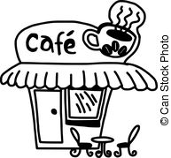 Coffee Shop Clipart Black And White.