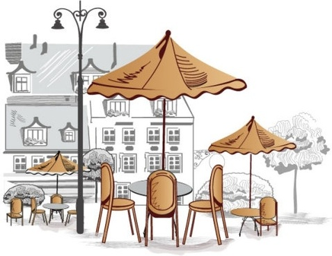 Cafe Clipart Roadide Vector.