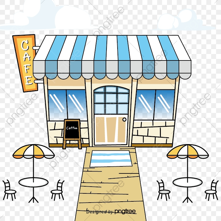 Hand Painted Cafe, Cafe Clipart, Coffee Shop, Cartoon PNG.