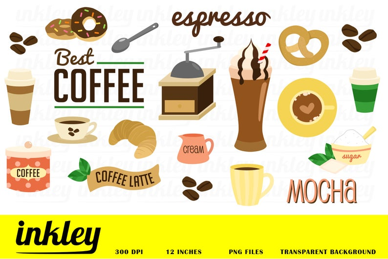 Coffee Clipart, Coffee Clip Art, Coffee Png, Cafe Clipart, Cake Clipart,  Cupcake Clipart, Barista Clipart, Coffee Bean, Bread Clipart.