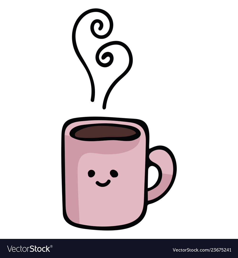 Kawaii coffee mug cartoon.