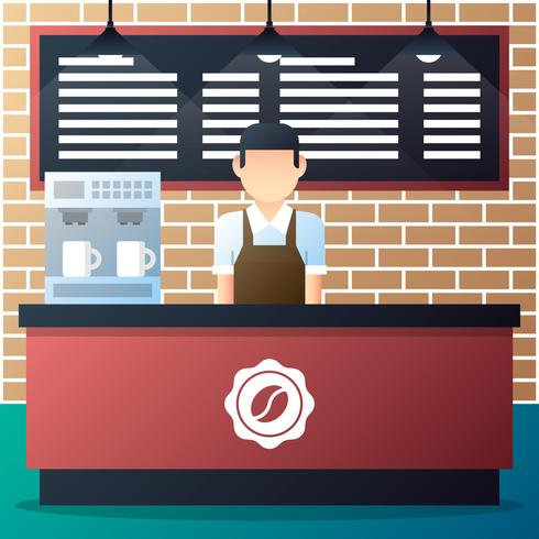 Barista Standing In Front Of The Counter With Coffee Machine.