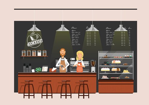 coffee shop,coffee counter with baristas Clipart Image.