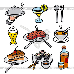 Cafe food icons.