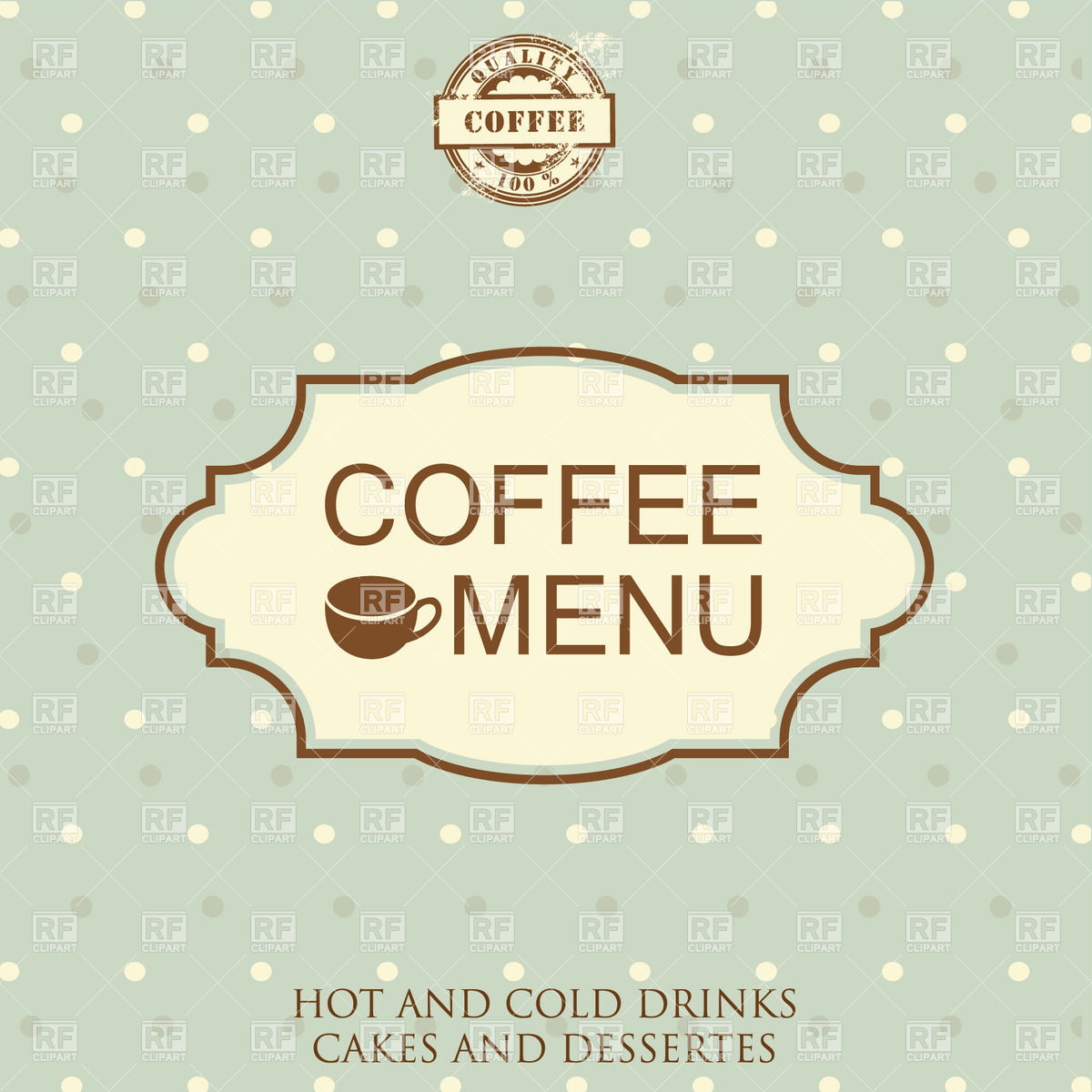 Restaurant or cafe menu design with frame in retro style Stock Vector Image.