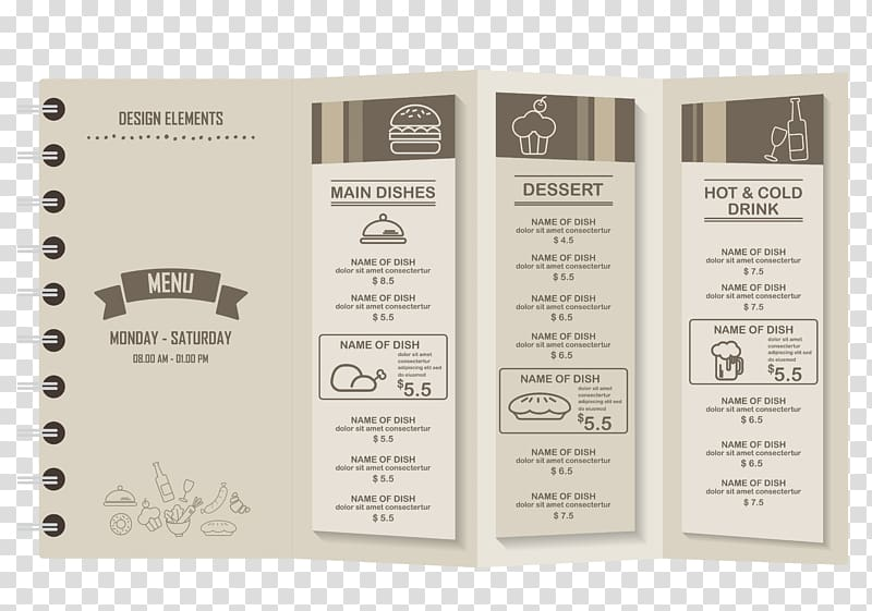Cafe Menu Restaurant, Stylish restaurant menu material transparent.