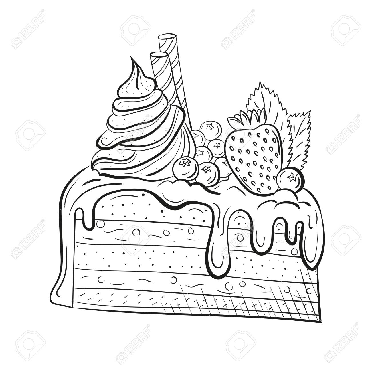 cake with berries, cream and mint. Sweet beautiful dessert. Clipart...