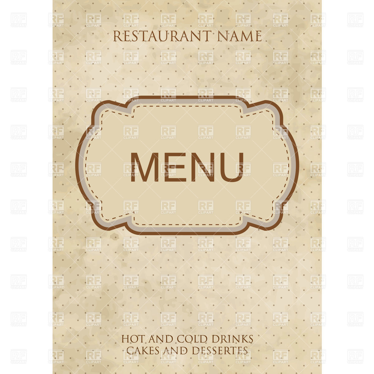Vintage style restaurant or cafe menu design with fancy frame Stock Vector  Image.