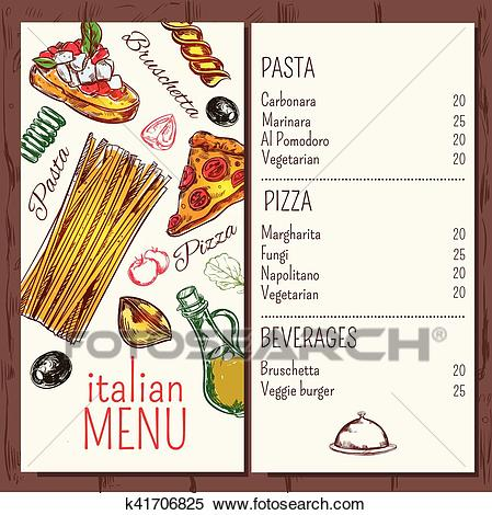 Italian Cafe Restaurant Menu Clipart.