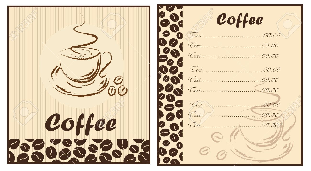 Set of two templates Coffee shop menu.