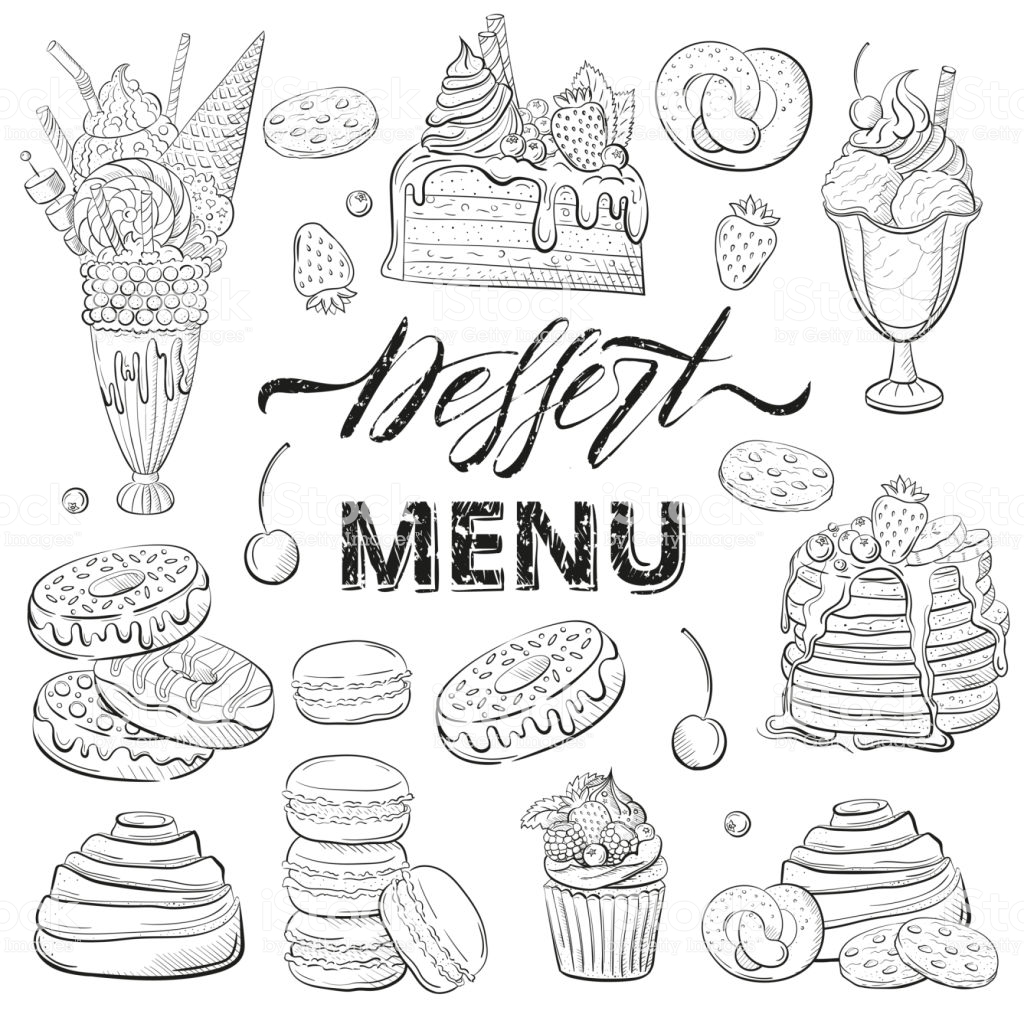 Sweet Beautiful Desserts Set Clipart For A Restaurant Or Café Menu.