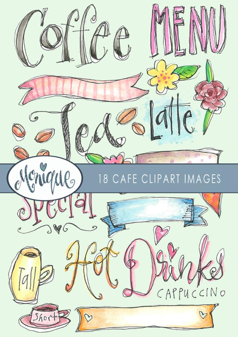 cafe menu clipart, watercolor, planners stickers, planner girl.