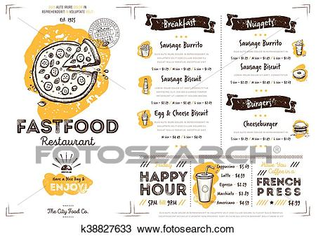 Restaurant cafe fast food menu template Clipart.