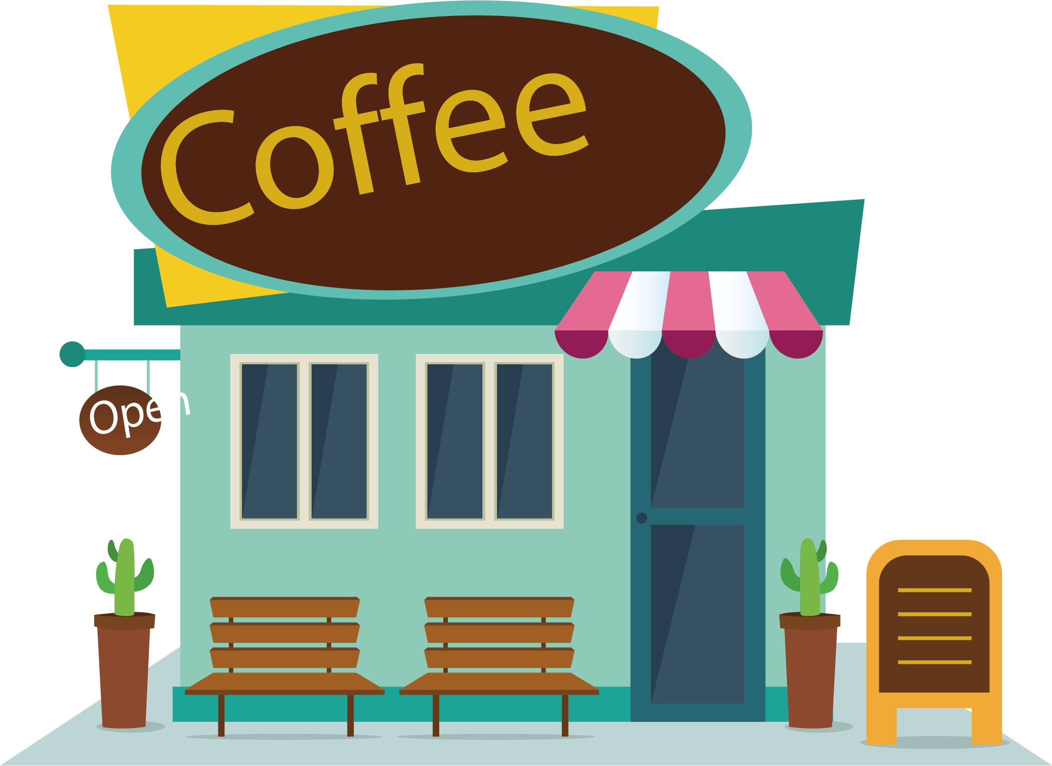 Download Shop Map Coffee Food Fast Vector Cafe Clipart PNG Free.
