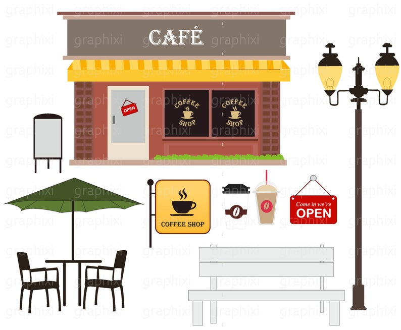 CAFE Clipart, Coffee shop vector, Cafe, Personal Use, clipart Commercial  Use, Digital image, Clip Art, Vector,DIGITAL CLIPART.